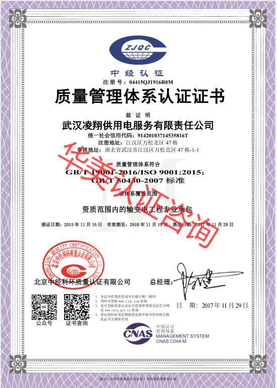 武汉凌翔供用电服务有限责任公司9001